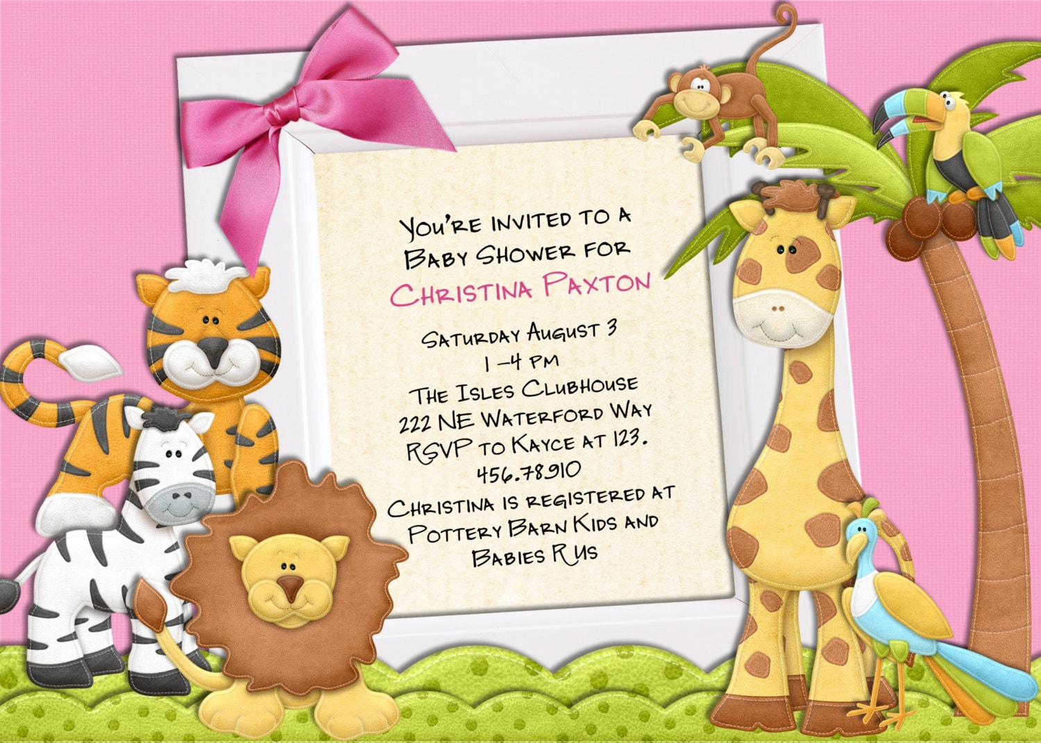 jungle baby shower invitation jungle animals boy by 3peasprints