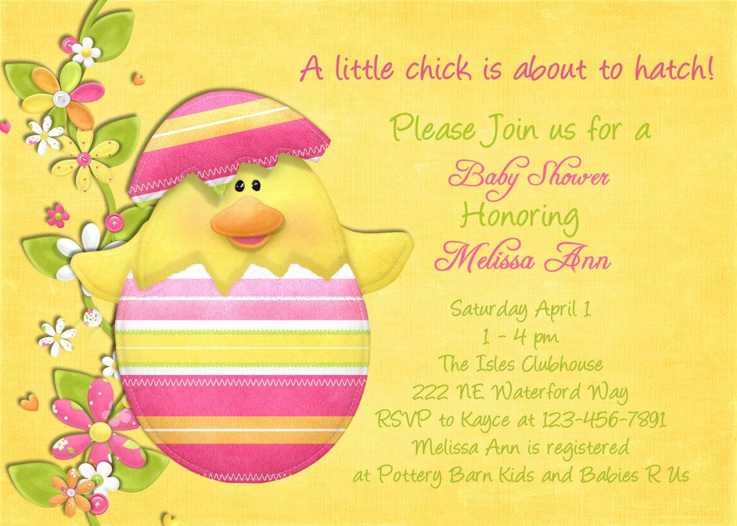 Baby Shower Easter Themes ~ Easter chick baby shower invitation printable and by