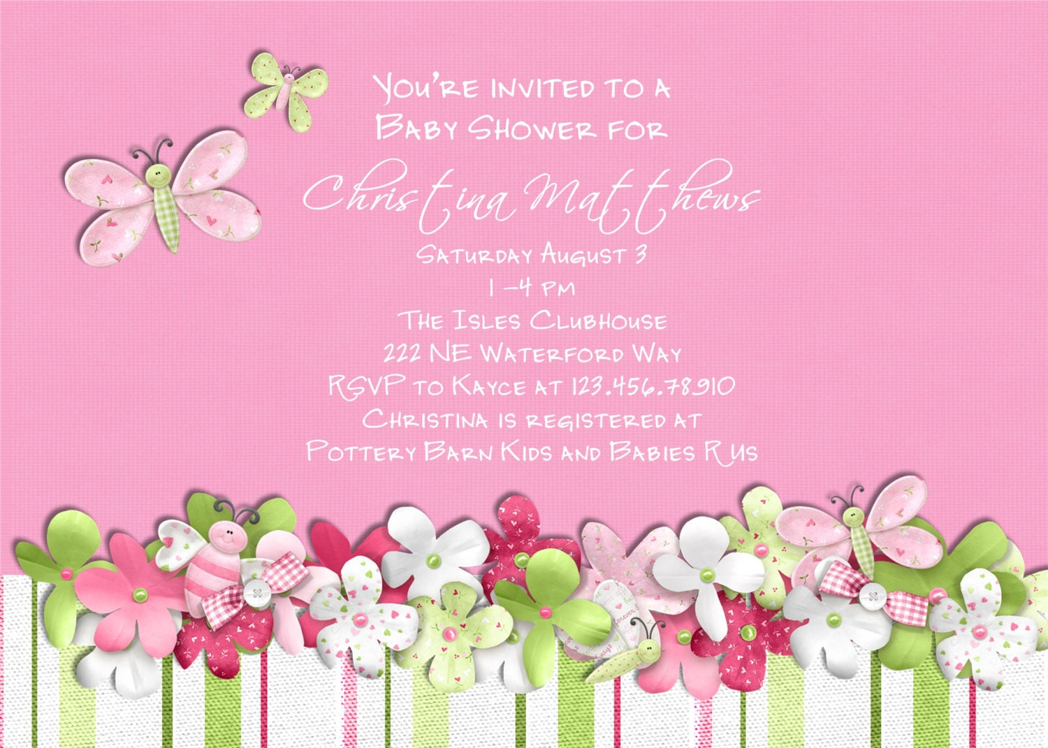 pink butterfly baby shower invitation baptism or by 3peasprints