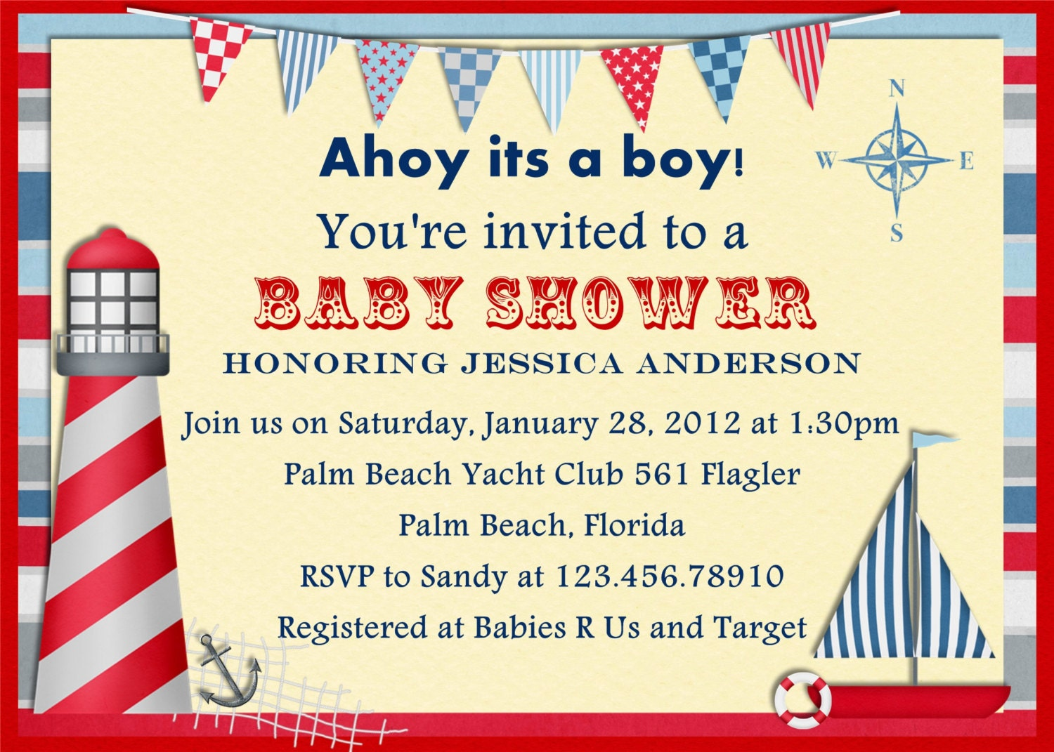 items similar to vintage nautical baby shower invitation printable and