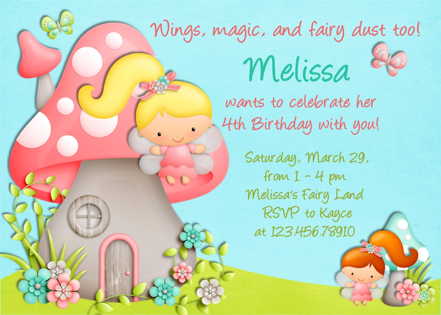 Fairy Invitation Fairy Birthday Fairy Party Invite – Invitation Greetings for Birthdays