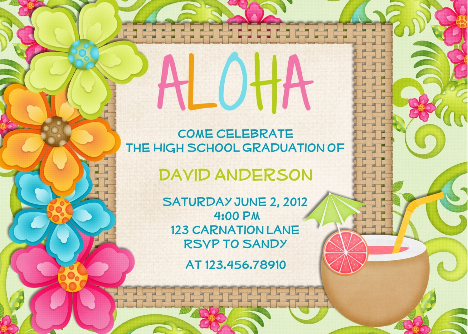 Luau Birthday Invitation Sweet 16 Tropical Hawaiian Hula Party