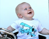 Blue Airplane White TShirt for Toddlers - American Apparel Poly Cotton 2 year Toddler Ready to Ship