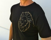 Heart of a Lion Leo Mens Black and Gold Tshirt - August Zodiac Astrology Shirt - Size X Large XL - Ready to Ship