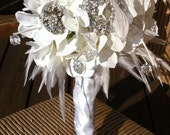 24 hour SUPER SALE  - White and silver Bridal Brooch Bouquet- ready to mail-now 125.00 till 11 am Central/Standard tomorrow