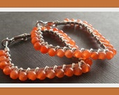 Wire Wrapped Diamond Shaped Leverback Hoop with Apricot Jade Earrings