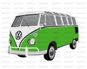 CLIP ART - 5 pieces detailed and original Volkswagen Van Set (Printable for scrapbooks, cards, web for either personal or commercial use)