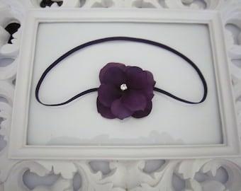 Single Plum Hydrangea Flower Headband with Rhinestone Center Newborn Infant Toddler Girl Photo Prop Spring Easter