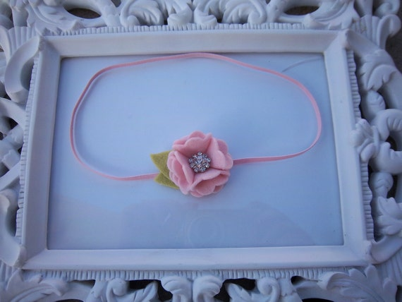Light Pink Petite Pom Wool Felt Flower Rhinestone Center Skinny Headband Newborn Infant Toddler Girl Photo Prop