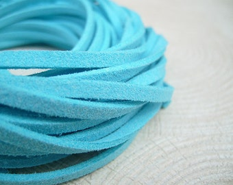 10Yds (900cm or 30Ft)- Turquoise Faux Suede Cord, Lace (FS3-52)