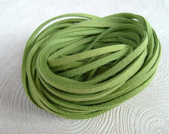 20Yds (1,800cm or 60Ft)- Lime Green Faux Suede Cord, Lace