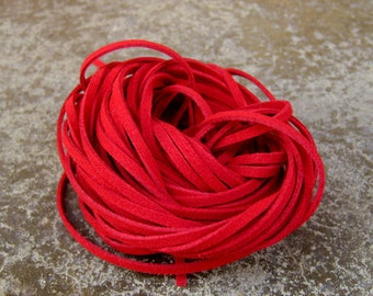 20Yds (1,800cm or 60Ft)- Red Faux Suede Cord, Lace (FS3-17)