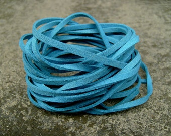 10Yds (900cm or 30Ft)- Cerulean Blue Faux Suede Cord, Lace (FS3-10)