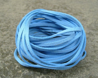 20Yds (1,800cm or 60Ft)- Sky Blue Faux Suede Cord, Lace