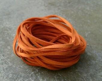 10Yds (900cm or 30Ft)-  Orange Faux Suede Cord, Lace (FS3-18)