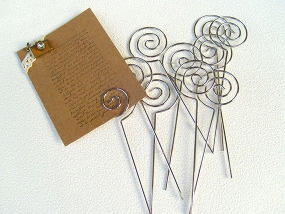 10-Pcs Swirl Shaped Wire Memo Holder Clip(Medium), Sign Holder, Escort Card Display, Namecard Holder, Pick