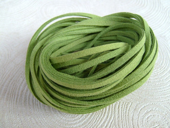 20Yds (1,800cm or 60Ft)-  Lime Green Faux Suede Cord, Lace (FS3-38)