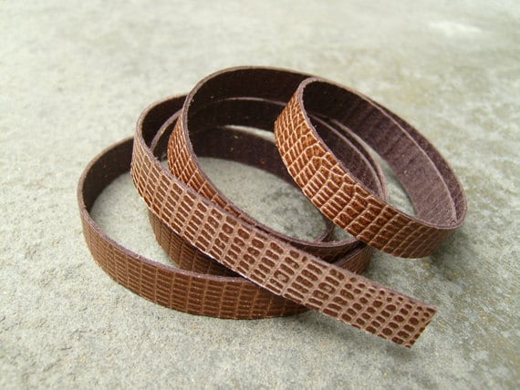 Snake-patterned  Brown Cowhide Lace Strap, Genuine Leather Strap, 1 Yard (900X10mm)