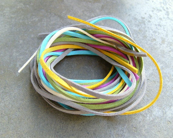 10Yds (900cm or 30Ft)- 2 to 5 Colors Faux Suede Cords- Pls, leave memo of your color pick(2 ~5 colors)