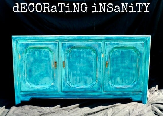 Hold for Whitney- Oh Starry Night - Turquoise Distressed Media Console/ Sideboard/ Credenza
