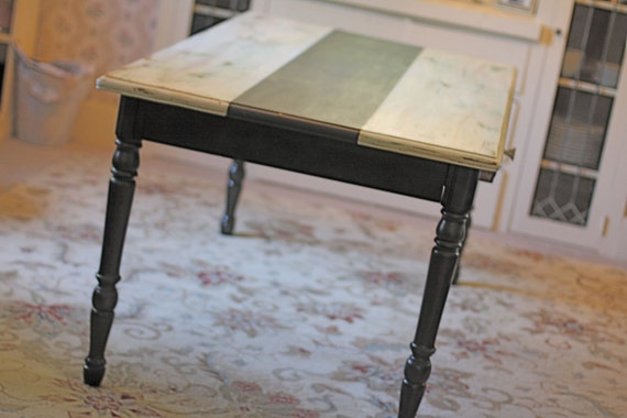 RESERVED FOR MARA- Farmhouse Style Distressed  Dining Table with Chalkboard Runner