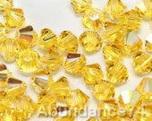 Swarovski Elements Crystal 5328 5301 Xillion Bicone Beads LIGHT TOPAZ AB - Available in 3mm ,4mm ,5mm and 6mm