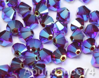 50pcs Swarovski Elements - Swarovski Crystal Beads 5328 4mm Xillion Beads - Siam AB2X