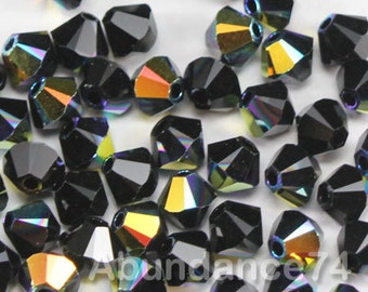 Swarovski Elements Crystal 5328 5301 Xillion Bicone Beads JET AB - Available in 4mm ,5mm and 6mm