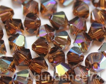 Swarovski Elements Crystal 5328 5301 Xillion Bicone Beads SMOKED TOPAZ AB - Available in 3mm ,4mm and 5mm