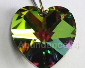 2 pcs Swarovski Crystal 18mm 6202  Faceted Heart Pendant Vitrail Medium