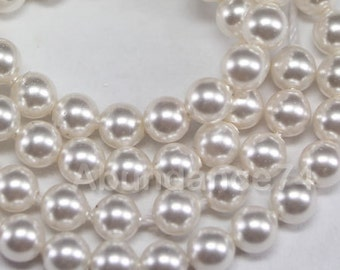 50 pcs Swarovski Crystal Pearl 8mm 5810 Round Ball Pearl - Color : White