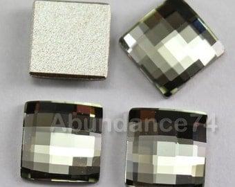 4 pcs Swarovski Crystal 8mm 2493 Chessboard Flatbacks, Non Hotfix - Black Diamond