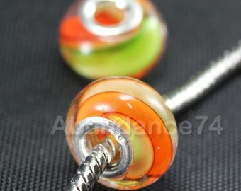 1 Piece 925 Sterling Murano Glass Bead Spiral European Bead Charm C22