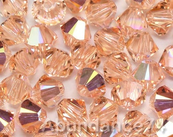 Swarovski Elements Crystal 5328 5301 Xillion Bicone Beads LIGHT PEACH AB - Available in 3mm and 4mm