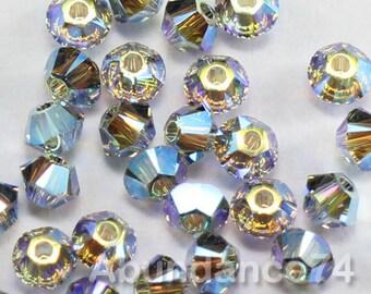 50pcs Swarovski Elements - Swarovski Crystal Beads 5328 3mm Xillion Beads - Black Diamond AB2X ( 2X Aurora Borealis )