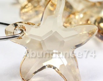 2pcs Swarovski Elements - Swarovski Crystal Pendant 6721 20mm Starfish Pendant - Crystal Golden Shadow