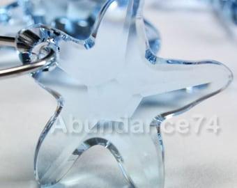 2pcs Swarovski Elements - Swarovski Crystal Pendant 6721 20mm Starfish Pendant - Aquamarine