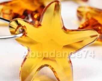 2pcs Swarovski Elements - Swarovski Crystal Pendant 6721 20mm Starfish Pendant - Topaz