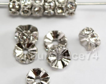 12 pcs Swarovski Crystal 5mm 4720 Rondelle Silver spacer Finding w Clear Crystal beads