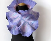 Tender Bluebell petal ruffled scarf in light violet, lilac hues and faded green, OOAK