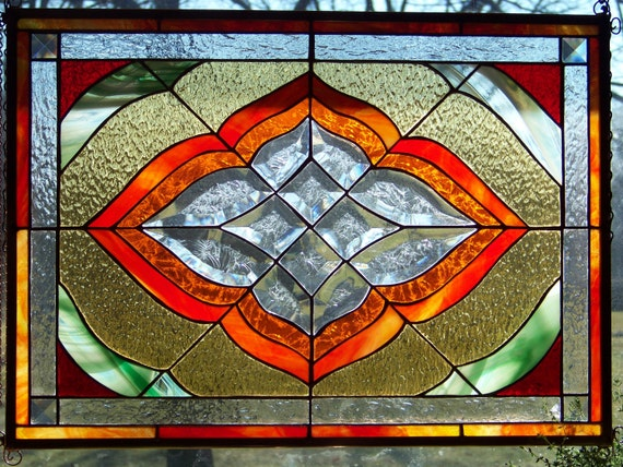 Orange,Yellow, Red & Green Glue Chipped Bevel Stained Glass Panel