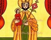 Postcard, St. Joseph, Patron Saint of the Family, New Mexico Santo, Religious Icon, Art Prints