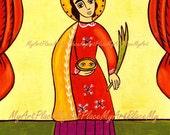 """Catholic Art, Saint Lucia, St. Lucy, """"Protector Against Eye Ailments,"""" Folk Art,  Christian Icon, New Mexico Santo, Eyes"""