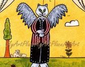 "Postcards, Art Prints, Cat, Kittens,  Angel, ""Keeper of the Homeless,"" Folk Art, Primitive, Naive"