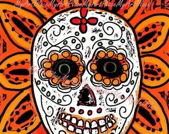Day of the Dead, Dia de Los Muertos, Postcards, Skull, Sugar Skull, Catrina, Mexican Art, Calavera, Folk Art, Skeleton, Latin Art, Mexico