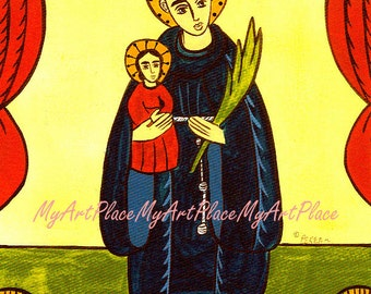 Saint Anthony Art, New Mexico Santo, Religious  Postcard, Folk Art, Christian Art, Catholic Art, Southwest Art, Mexican Saint, Sacred Art