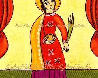 "Saint Lucia, St. Lucy, Catholic Art,  ""Protector Against Eye Ailments,"" Religious Art,  Folk Art,  Postcard, New Mexico Santo, Eyes, Icon"