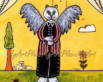 "Postcards, Cat Art Prints, Cat, Kittens,  Guardian Angel, ""Keeper of the Homeless,"" Folk Art, Primitive, Naive, Protector"
