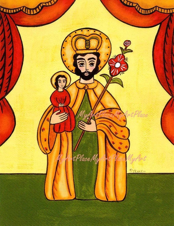 Saint Joseph, Patron Saint of the Family, New Mexico Santo, Religious Icon, Folk Art, Catholic Art, Sacred Art, Mexican Saints, Postcards