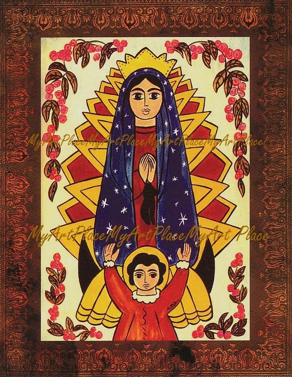 Our Lady of Guadalupe Art, Catholic Art, Christian Art, New Mexico Saints, Santo, Religious Icon, Mexican Art, Folk Art Postcard, Sacred Art